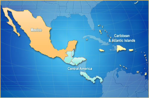 Caribbean and Mexico Map